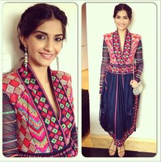 Sonam in a colourful Payal Pratap dress.