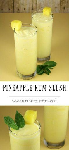 Pineapple Rum Slush - The Toasty Kitchen # ananas rum slush - die toasty kitchen Pineapple Rum Slush - The Toasty Kitchen # Party Drinks, Cocktail Drinks, Fun Drinks, Healthy Drinks, Drinks With Rum, Rum Mixed Drinks, Refreshing Drinks, Summer Drinks, Liquor Drinks