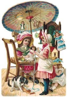 German diecut scrap... Girls Playing with dolls.