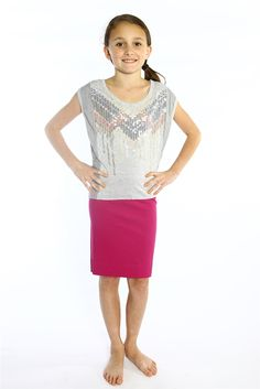 A knee length pencil skirt in a pink supplex.