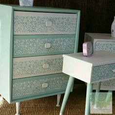 Retro drawers completed in Dixie Belle's Mineral Chalk Paints in Fluff and Sea Glass. the front has been stenciled with one of Shomai Blooms personal designs.