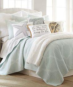 Loving this Ice Blue Lattice Quilt Set on #zulily! #zulilyfinds