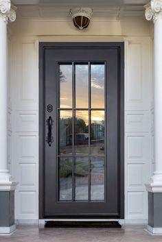 Iron Front Door, Front Doors With Windows, Entry Doors With Glass, Single Patio Door, Single Doors, Door Gate Design, Door Design Interior, Rustic Houses Exterior, Exterior Doors