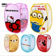 Minions Hello Kitty Folding Storage Basket Dirty Clothing Laundry Bucket Children's Toys Shoes Sundries Cartoon Organizer Bag #>=#>=#>=#>=#> Click on the pin to check out discount price, color, size, shipping, etc. Save and like it!