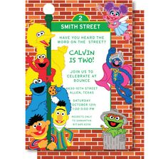 sesame+street+invitations | sesame street birthday invitation, Party invitations