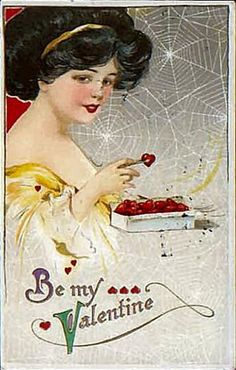 Strange vintage valentine. Why the cobwebs? Has she been waiting so long for her true love that she's gathering dust and spiders? Did she just never take down the Halloween decorations? Poor strange half-clothed girl.
