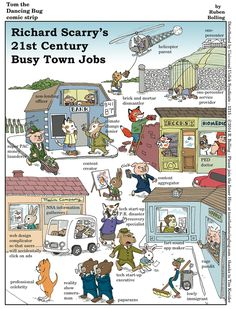 Tom the Dancing Bug Comic Strip, November 28, 2014 - Richard Scarry's 21st Century Busy Town Jobs
