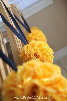 Aisle flowers but orange and purple Aisle Flowers, Fake Flowers, Royal Blue And Gold, Orange And Purple, Yellow Flowers, Orange Wedding, Wedding Colors, Wedding Flowers, Canary Yellow Weddings