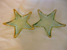 Set of 2 Mid Century Bottle Green Aqua Star Shaped Glass Candy Dishes on Etsy, $15.00
