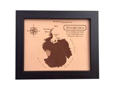 leather anniversary gift idea - laser engraved leather - Antarctica map - 3rd anniversary - 9th anniversary