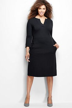 f796ee425db Lands  End Women s Plus Size 3 4 Sleeve Ponté Sheath Dress Black Dress With