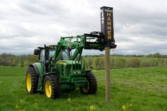 The Danuser Hammer with grapple is a one-person operation post driver for Euro/Global front-end loaders. Easily drive fence posts to a railroad tie. Wood Fence Post, Fence Posts, Tractor Accessories, Modern Agriculture, Tractor Implements, Tractor Attachments, Fence Design, Heavy Metal, Tractors