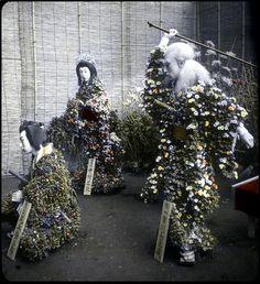 FLOWER MANNEQUINS TELL A STORY  Chrysanthemum living figures showing the play Kiichi Hogen, Dangozaka, Tokyo, ca.1897-1900 by T. Enami