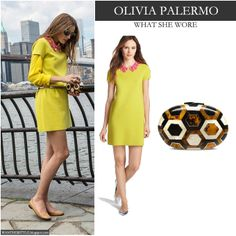 WHO: Olivia Palermo in New York, August 2013 WHAT SHE WORE: she wore bright yellow shift dress by Kate Spade with collar embellishment and m...