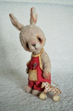 Teddy Bear stile Rabbit Artist viscose vintage by SanaTeddyBears