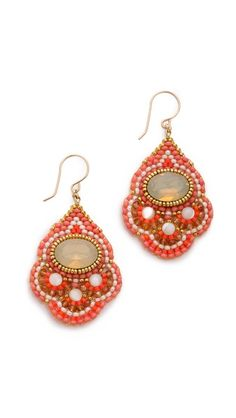 Miguel Ases Beaded Quartz Earrings Bead Embroidery Jewelry, Beaded Embroidery, Beading Tutorials, Beading Patterns, Beaded Rings, Beaded Jewelry, Beadwork Designs, Expensive Jewelry, Bead Weaving