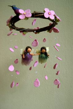 Two girl fairies mobile with hummingbird and von byNaturechild