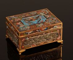 "Chinese silver filigree cloisonne box, c.1820. 5.25"" x 4"""