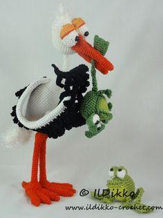Stuart Stork & Frog Amigurumi Pattern by IlDikko - Craftsy