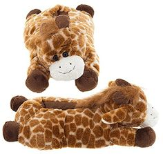 Fluffy plush giraffe slippers, adult sizes! $27.99 from www.giraffethings.com