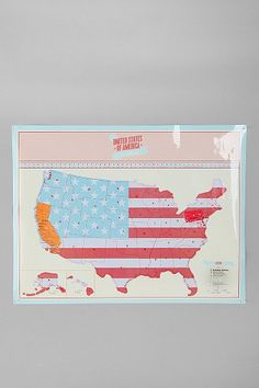 Scratch-Off USA Travel-Map Poster: this will help keep track of where i've been. and i plan to visit every state before i die!