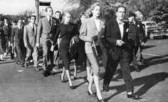 Lauren Bacall & Humphrey Bogart lead a march to the U.S.  Capitol to protest Senator McCarty's witch hunt against communists & alleged communists, 1947.