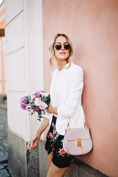 Wedding guest look for summer with a floral wrap skirt, white blazer and Drew bag by Chloé - Anna Pauliina, Arctic Vanilla blog.