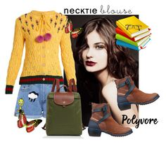 """""""neck Tie Blouse"""" by ejusz4444 ❤ liked on Polyvore featuring Keen Footwear, Paul & Joe Sister, Gucci and Longchamp"""