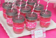 Mini Mouse pink lemonade! Cute Idea! With our invites!  http://www.etsy.com/listing/161932929/mrs-mouse-tea-party-birthday-invitation?ref=listing-shop-header-3
