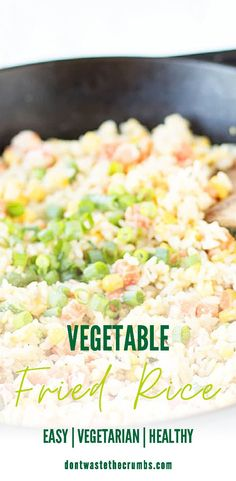 This Vegetable Fried Rice is so much better than Chinese take-out! Healthy, quick & easy, frugal, and the perfect way to use up leftovers! Enjoy as a main meal or as a side dish with other Chinese-style favorites like Weeknight Veggie Stir Fry, or Instant Pot Beef and Broccoli! There's no need to order out! This better than takeout vegetable fried rice is ready to go in just 25 minutes! #vegetablefriedrice #friedrice #vegetarian Vegetable Fried Rice, Veggie Stir Fry, Fried Vegetables, Vegetable Side Dishes, Vegetable Recipes, Allergy Free Recipes, Vegetarian Recipes Easy, Real Food Recipes, Healthy Recipes