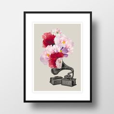 "A4 Artprint ""Blumophon"" Blumen Illustration"
