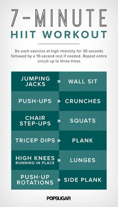 Get the printable version of this seven-minute HIIT workout here!When it comes to high-intensity interval training (HIIT), the pros definitely outweigh the Tips Fitness, Sport Fitness, Fitness Motivation, Health Fitness, Enjoy Fitness, Fitness Challenges, Health Exercise, Women's Health, Fitness Goals