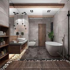 Zen Bathroom.. I'm ready for my bath now please! www.behance.com #zen #bathtime #homeinspo #interior #bathroom #architecture #homeinspo…