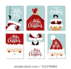 Vector Merry Christmas and Happy New Year greeting card set with cute santa claus and hand drawn lettering. Christmas Boarders, Pop Up Christmas Cards, Christmas Drawing, Christmas Mood, Merry Christmas And Happy New Year, Xmas Cards, Holiday Cards, Christmas Crafts, Happy New Year Greetings
