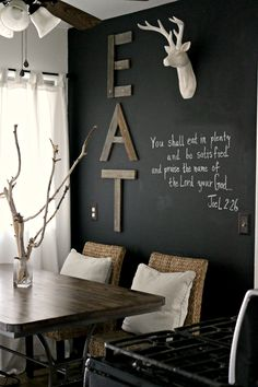 Black walls - 48 living ideas for modern interior design Black walls and creatively design for rustic living room design and modern kitchen decor Black Painted Walls, Black Walls, Chalk Wall, Chalkboard Walls, Chalk Board, Chalkboard Ideas, Kitchen Chalkboard, Black Chalkboard, Wall Wood