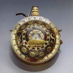 16th Century Gun Powder Flask-Sundial Compass Watch