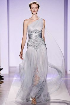 Couture Zuhair Murad Elegant Gowns For Grey Beaded Tulle Long Dresses Online Most Beautiful Wedding Dresses, Blue Wedding Dresses, Fabulous Dresses, Ice Dresses, Lace Evening Dresses, Long Dresses, Draped Dress, Lace Dress, Ice Queen Costume