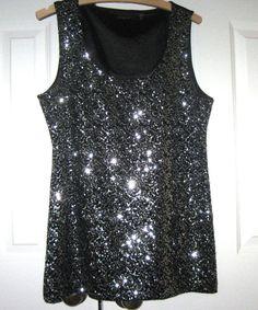 Tahari  Black  Clubwear Top, Sleeveless, Size M, Sequined #Tahari #TankCami #Clubwear