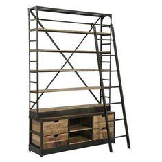 Kast Bieb met ladder, vintage, metaal, hout, bibliotheekkast ...