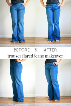 Huge boxy jeans makeover into flattering flared trouser jeans