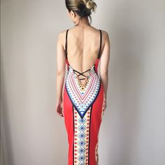 """Red allure open back long dress. Red allure long dress with open back , low sexy back. Resort summer must have . Adjustable strap with low cross back. Printed pattern. 95%polyester 5%Spandex. Length; 55"""", bust 20-42"""", waist:27-47"""", hips ; 30-49"""". All measurement in inches and flat lay.  It shows the maximum it can stretch to form fit the body Kurates.co Dresses Backless"""