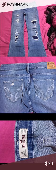 Distressed hollister jeans Really cute distressed hollister jeans! Only worn a handful of times! Hollister Jeans Boot Cut