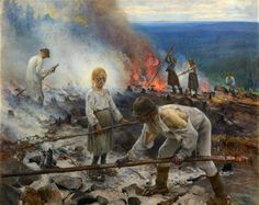 "Eero Jarnefelt: ""Under the Yoke / Burning the Brushwood"" (1893) - Giclee Fine Art Print"