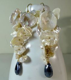 Long Gemstone Dangle Earrings Black Mystic Spinel by saranolte, > LOVE THESE!!  @Sara Nolte