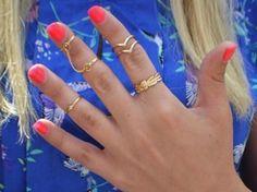 Fashion 6pcs / Set Gold Urban Rings Crystal Knuckle stacking Band Midi Mid Ring
