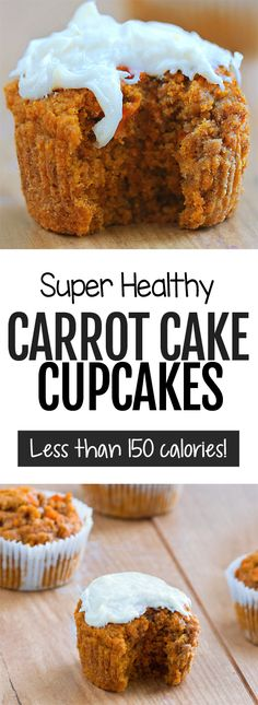 These moist and secretly healthy carrot cake cupcakes are high in nutrition, low in fat, and they can even be sugar-free. Healthy Cupcake Recipes, Healthy Cupcakes, Healthy Carrot Cakes, Carrot Cake Cupcakes, Easy Baking Recipes, Healthy Sweets, Healthy Baking, Vegan Desserts, Dessert Recipes