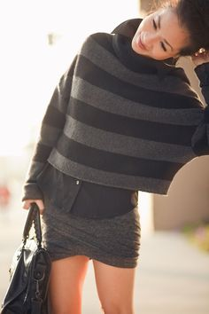 Comfy Stripes - Twisted skirt - Very cool layering Wendy's Lookbook, Fashion Corner, Layered Fashion, Thick Sweaters, Nyc Fashion, Fashion Ideas, Autumn Winter Fashion, Winter Style, Get Dressed