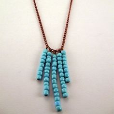Copper Turquoise Seed Bead Necklace