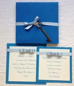 partecipazione matrimonio blu con chiave