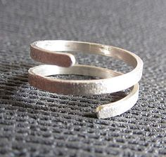 Silver Twist Wrap Ring - rings